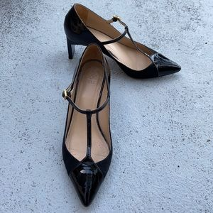 """Zvelle Lady Lindy patent suede T strap 2.5"""" heels"""